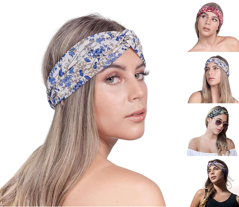 0e12cc067626a SEGALA 4 Pack Women Boho Headband Bohemian Floral Style Knot Hairwrap  Flower Printing Twisted...