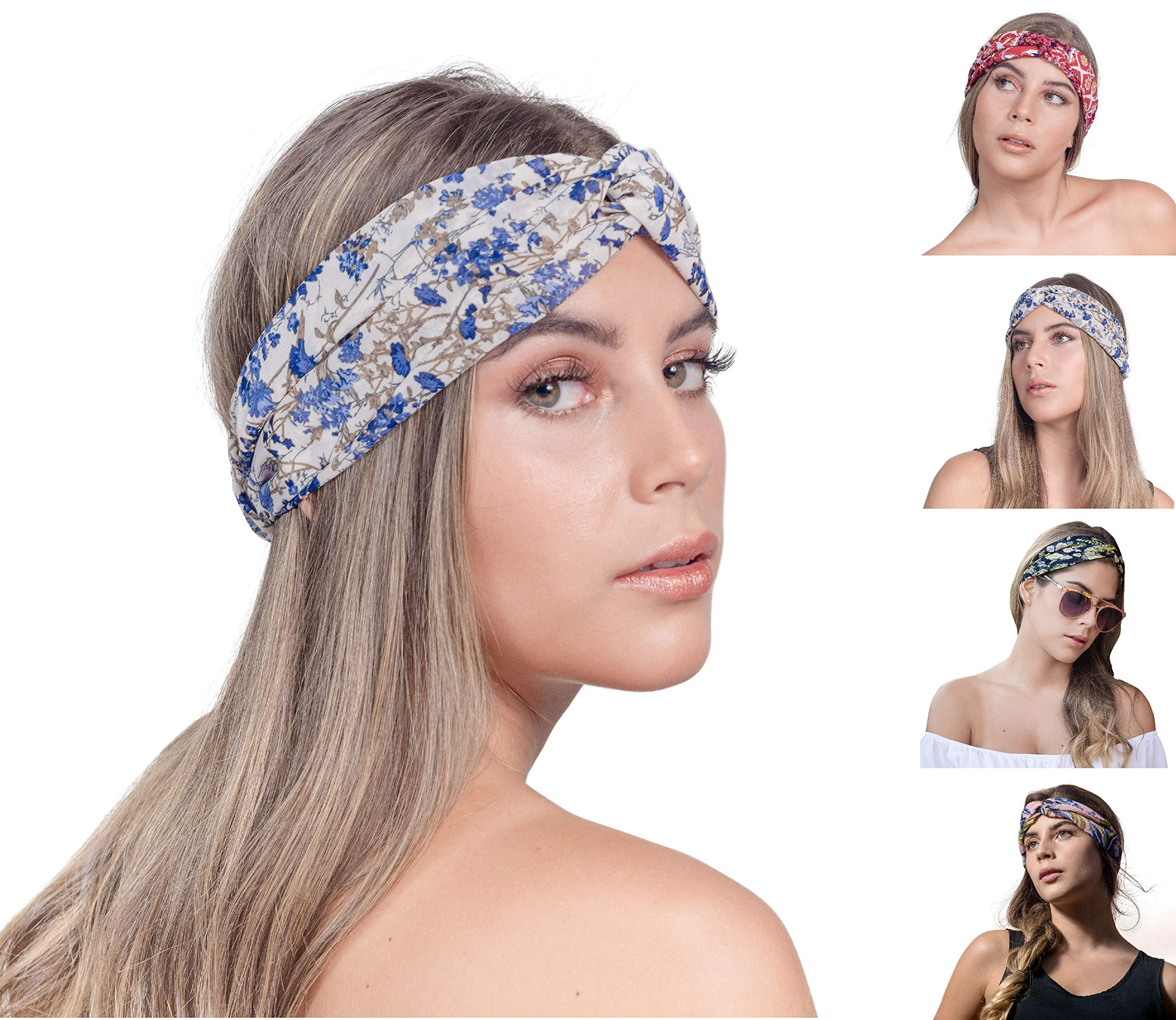 Amazon.com   SEGALA 4 Pack Women Boho Headband Bohemian Floral Style Knot  Hairwrap Flower Printing Twisted Criss Cross Stretchy Hairband   Beauty 199a3facdbc