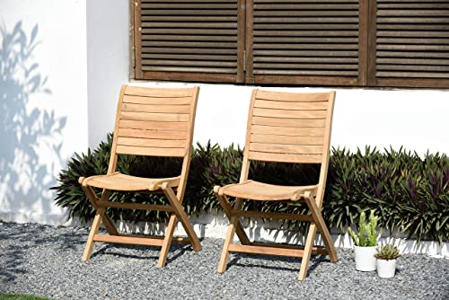 Amazonia Dublin 2-Piece Outdoor Folding Chairs Certified Teak Ideal for Patio and Indoors