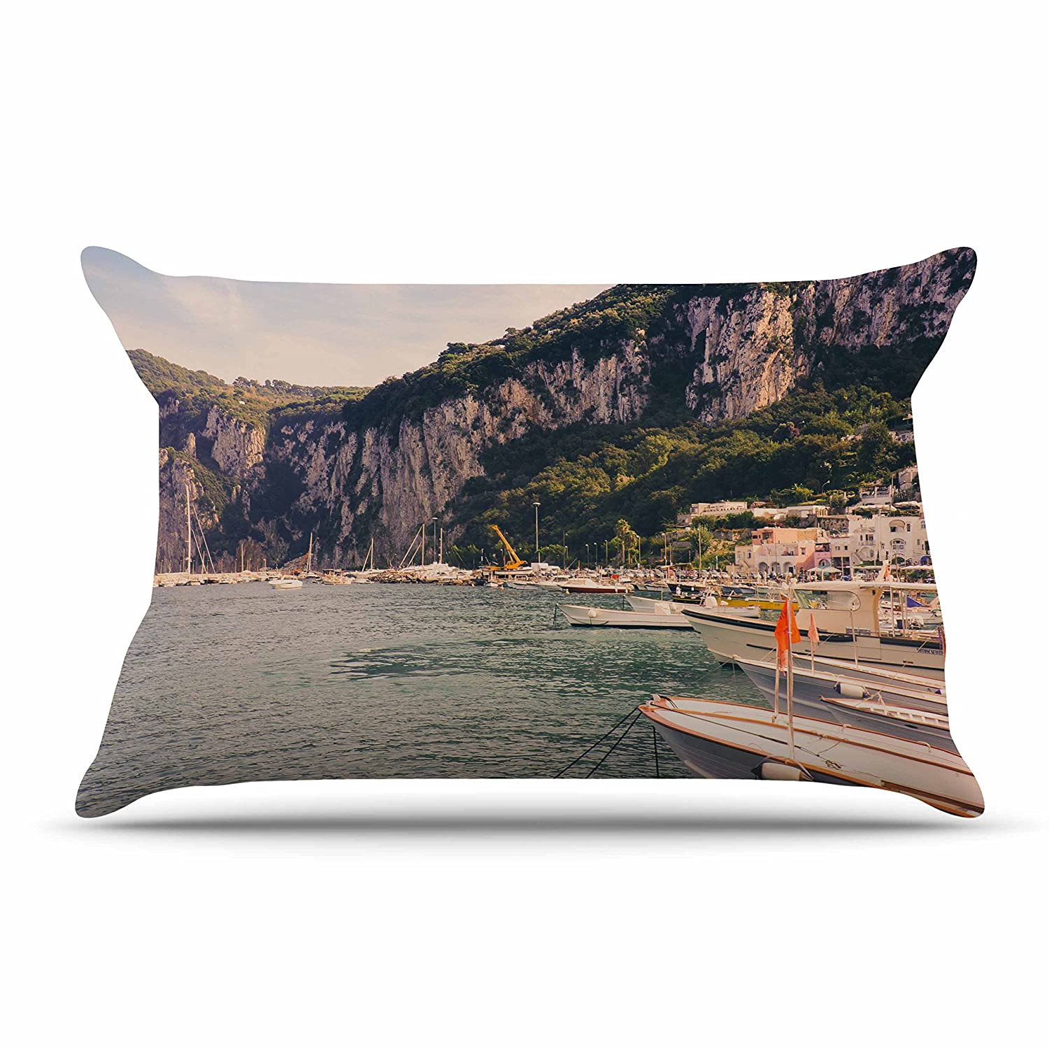 30 by 20-Inch Kess InHouse Violet Hudson Boats of Paradise Teal Green Standard Pillow Case 30 X 20
