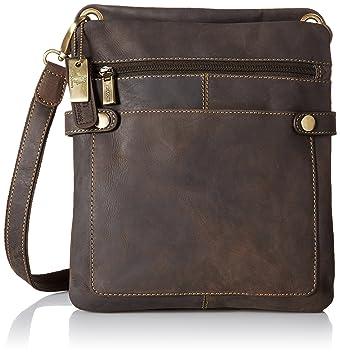 591ef2fb1610 Amazon.com   Visconti Distressed Leather Fashion Slim Cross-Body Messenger  Bag, Brown   Messenger Bags