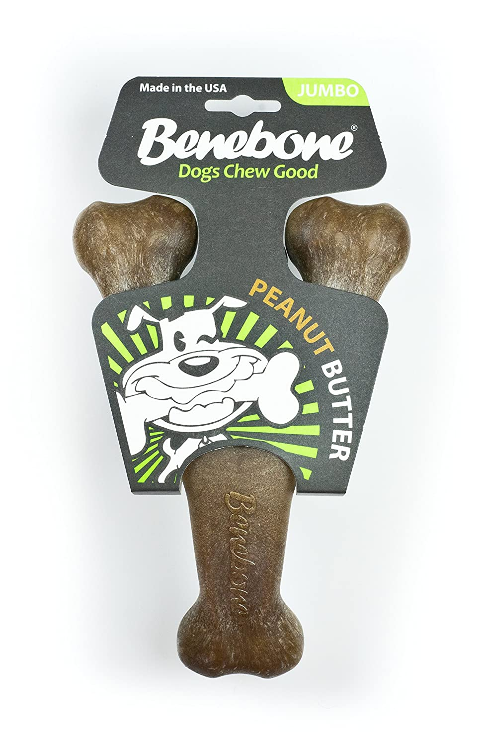 Benebone Peanut Flavored JUMBO Size Wishbone Chew Toy, Dark Brown