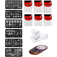 Store2508® Nail Stamping Kit SET E With 6 Rectangular Image Plates, Clear Jelly 3.8 Cm Stamper& Scraper, Nail Art Tip Guides & Nail Striping Tapes (SET E)