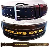 """Golds Gym Leather Weight Lifting Belt 4"""" Training Bodybuilding Lumbar Support"""