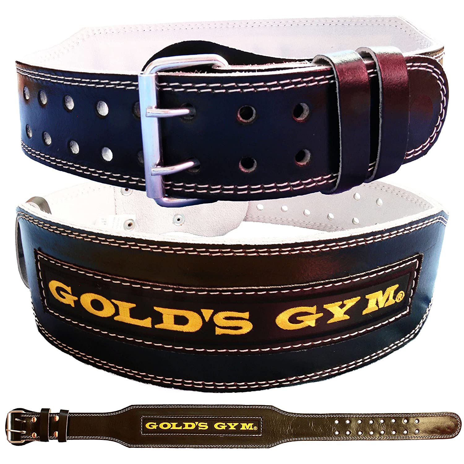 Gold's Gym Leather Weight Lifting Belt 4 Training Bodybuilding Lumbar Support Golds Gym