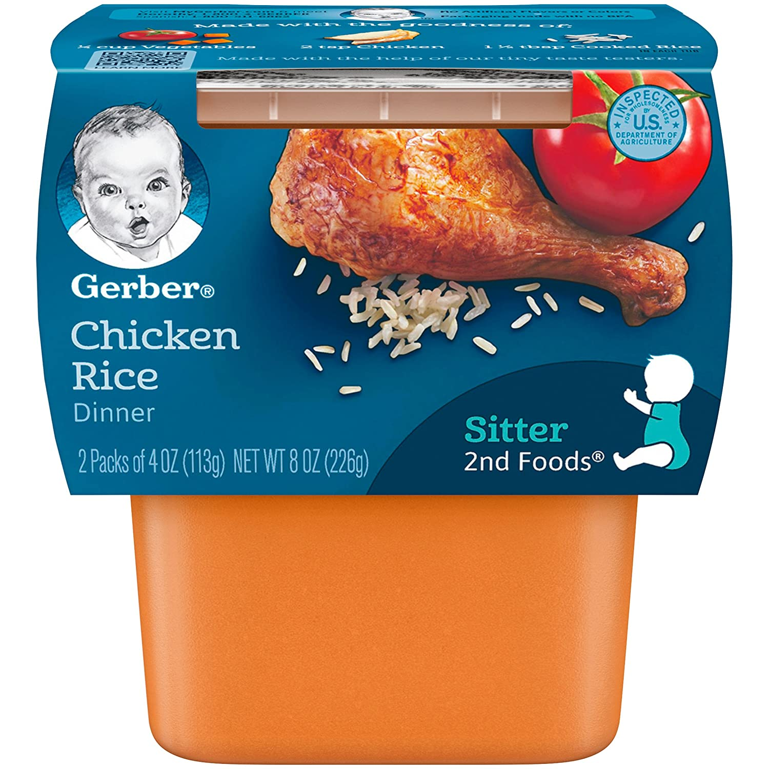 Gerber 2nd Foods Chicken Rice, 4 Ounce Tubs, 2 Count (Pack of 8)