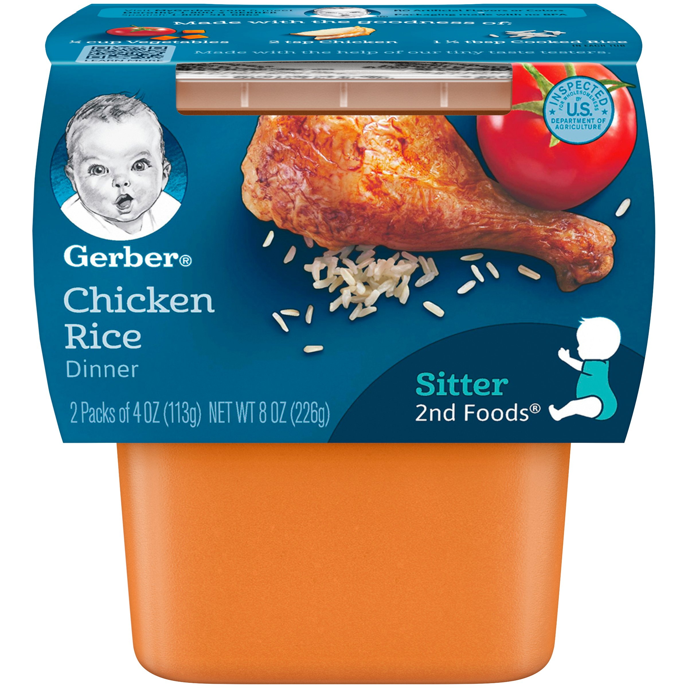 Gerber 2nd Foods Chicken Rice, 4 Ounce Tubs, 2 Count (Pack of 8) by Gerber