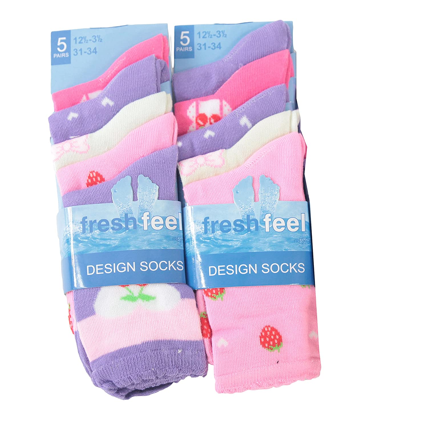 10pairs Girls Cotton Blend Funky Pattern Design Socks Girls Back To School Socks Shoe Size 3-5 to 12-3