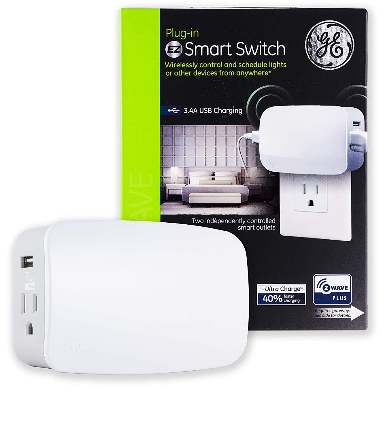 GE Enbrighten Z-Wave Plus Smart Plug with 2 USB Ports (3.4A Shared), 2 Individually Controlled Outlets, On/Off Switch, Zwave Hub Required, Works with SmartThings Wink & Alexa, 28177, White