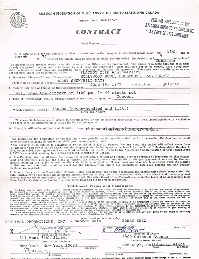 BOBBY SHEW Signed 1979 Contract For PLAYBOY 25th ANNIVERSARY At HOLLYWOOD  BOWL At Amazonu0027s Entertainment Collectibles Store