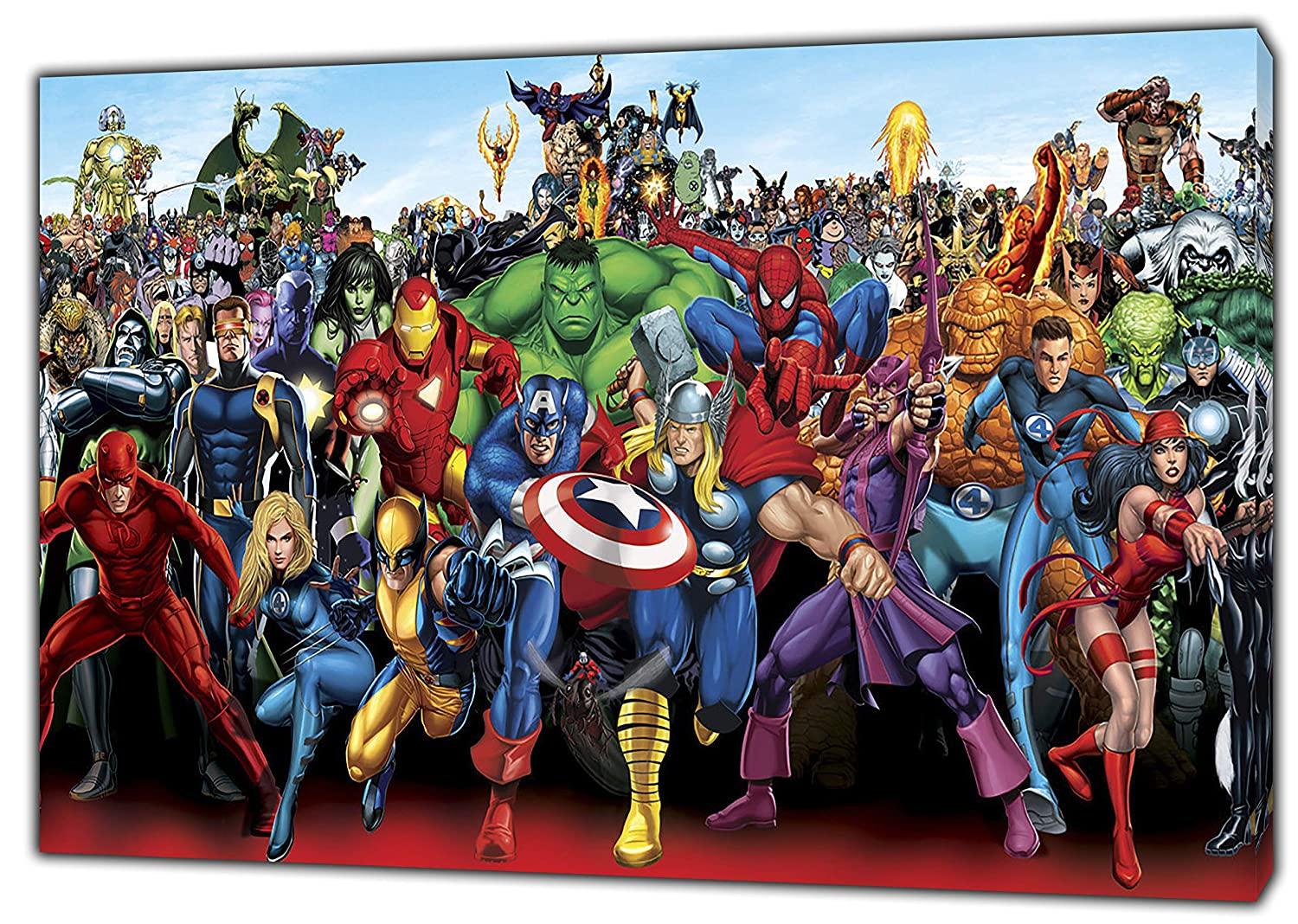 Marvel Superheroes Characters Photo/Picture Print ON Framed Canvas Wall Art Home Decoration 12''x 8''inch -18mm Depth ARTSPRINTS