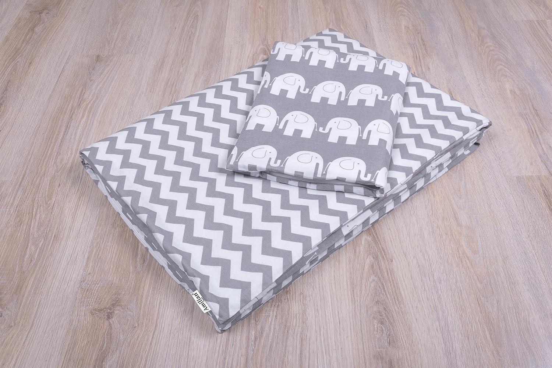 Amilian® Baby Bettwäsche Design:Elefant GRAU Größe 100x135 cm (40x60 cm) Bettset Kinderbettwäsche zieba