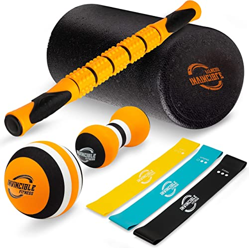 Invincible Fitness Foam Roller Set, Includes Muscle Roller Stick, Double Peanut Massage Ball, Trigger Point Ball and 3 Resistance Loop Bands, for Self – Myofascial Release, Deep Tissue Massage