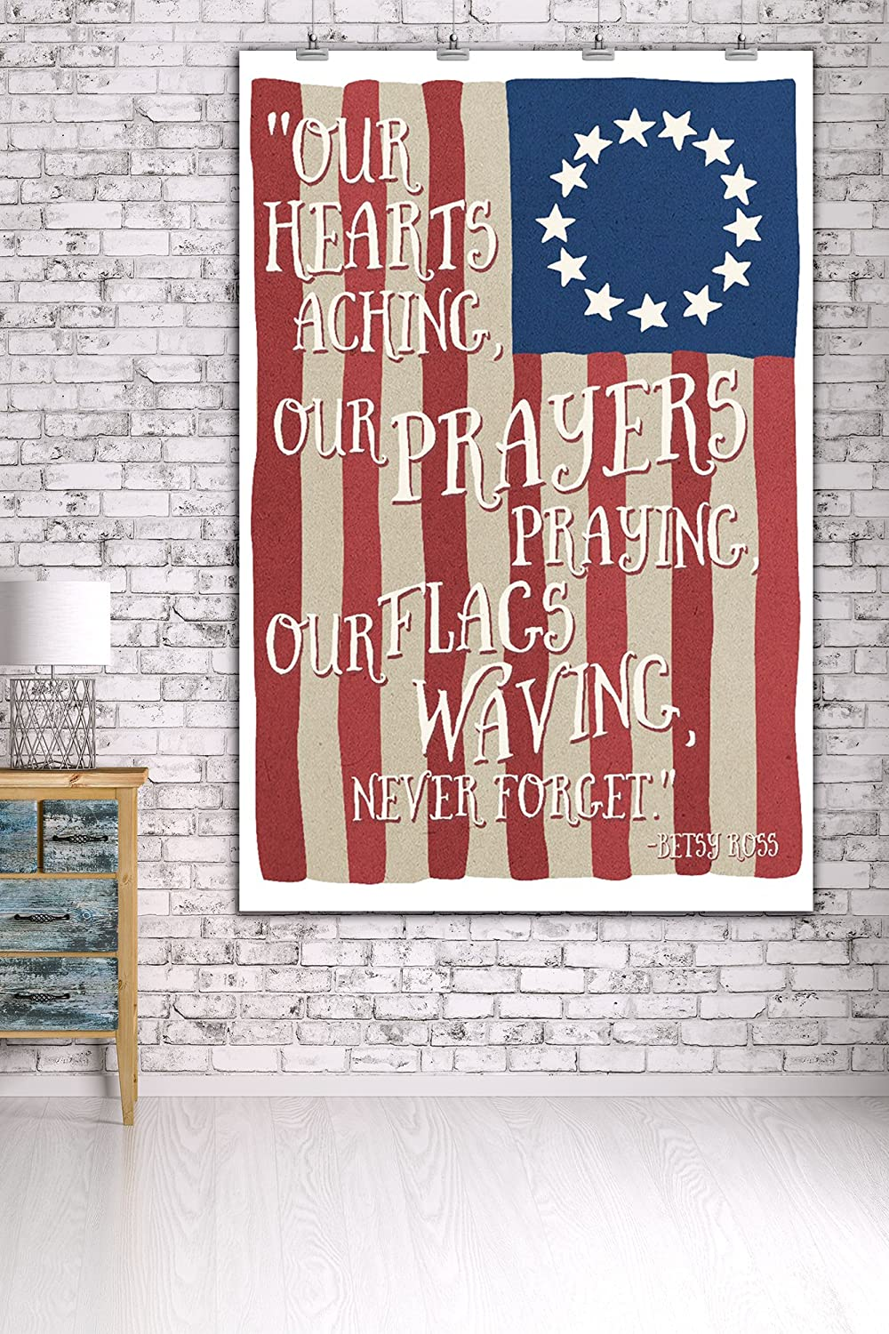 Betsy Ross Flag Never Forget Quote 36x54 Giclee Gallery Print, Wall Decor Travel Poster