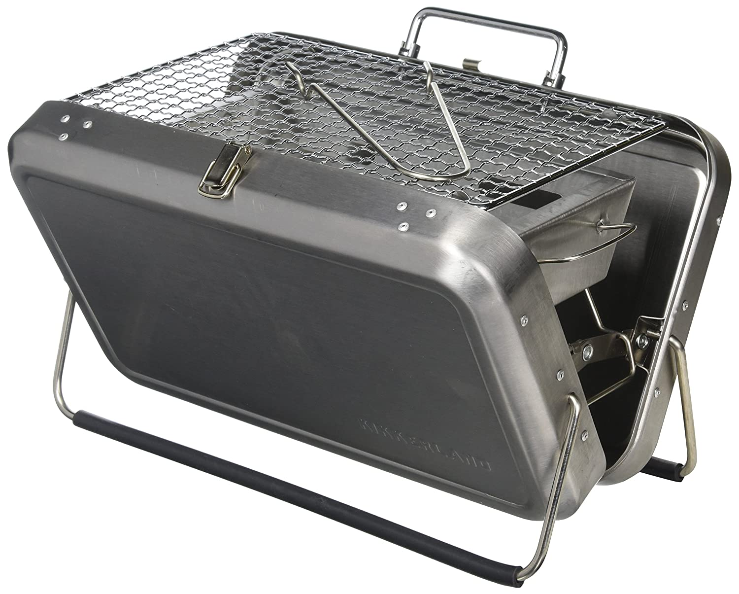 Kikkerland Stainless Steel Portable BBQ Suitcase, Silver BQ01