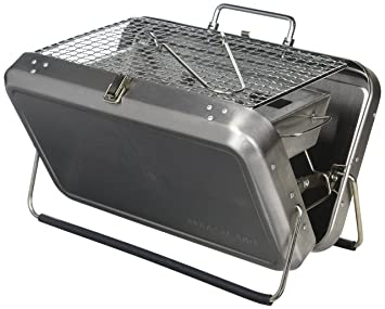 Kikkerland BQ01 Portable BBQ Suitcase, Silver