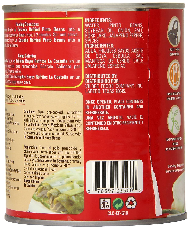 Amazon.com : La Costena Pinto Beans, Refried, 1.8 Pound ...