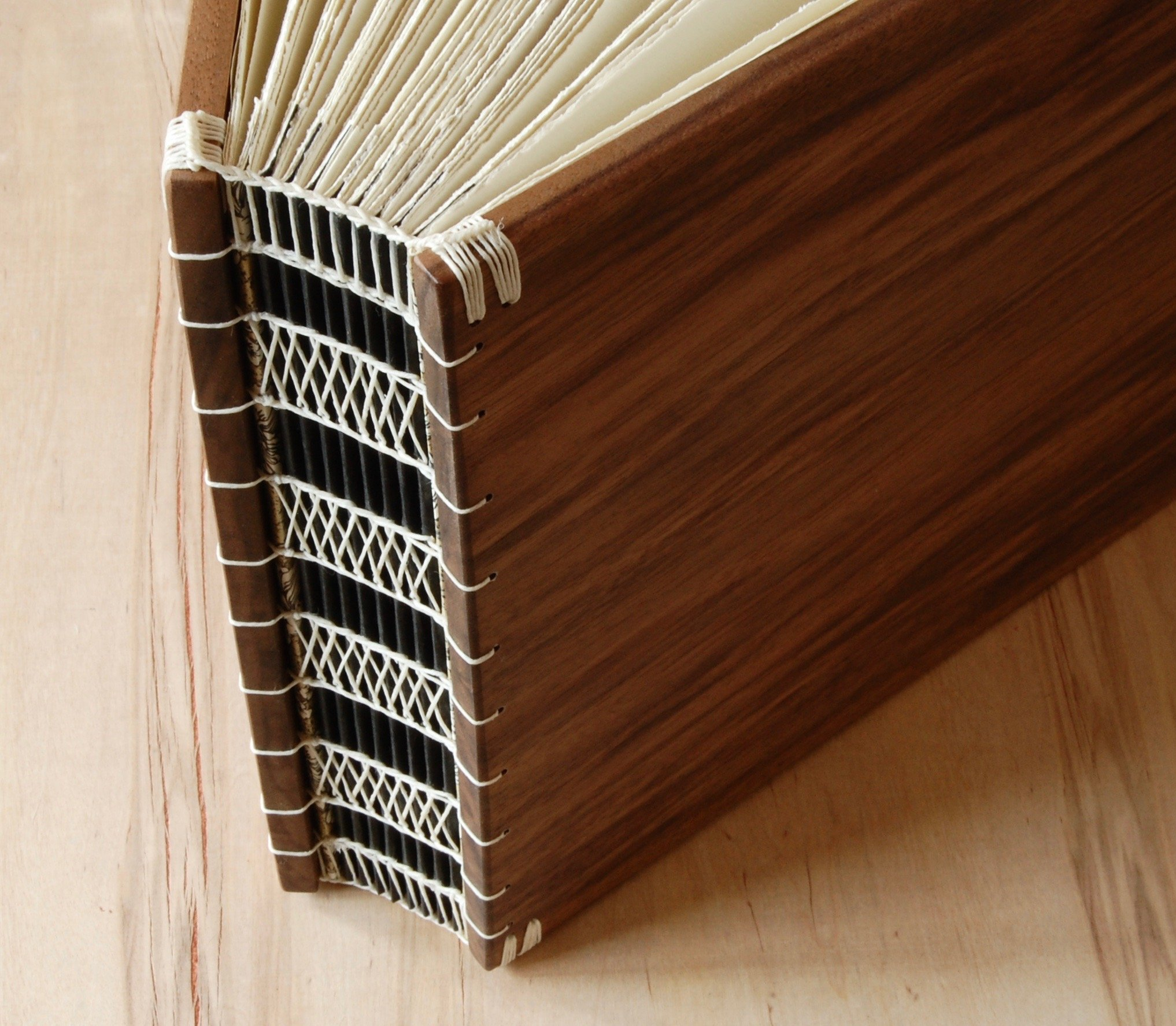 Handmade Instant Photo Wedding Guest Book or Scrapbook - Black Walnut Wood