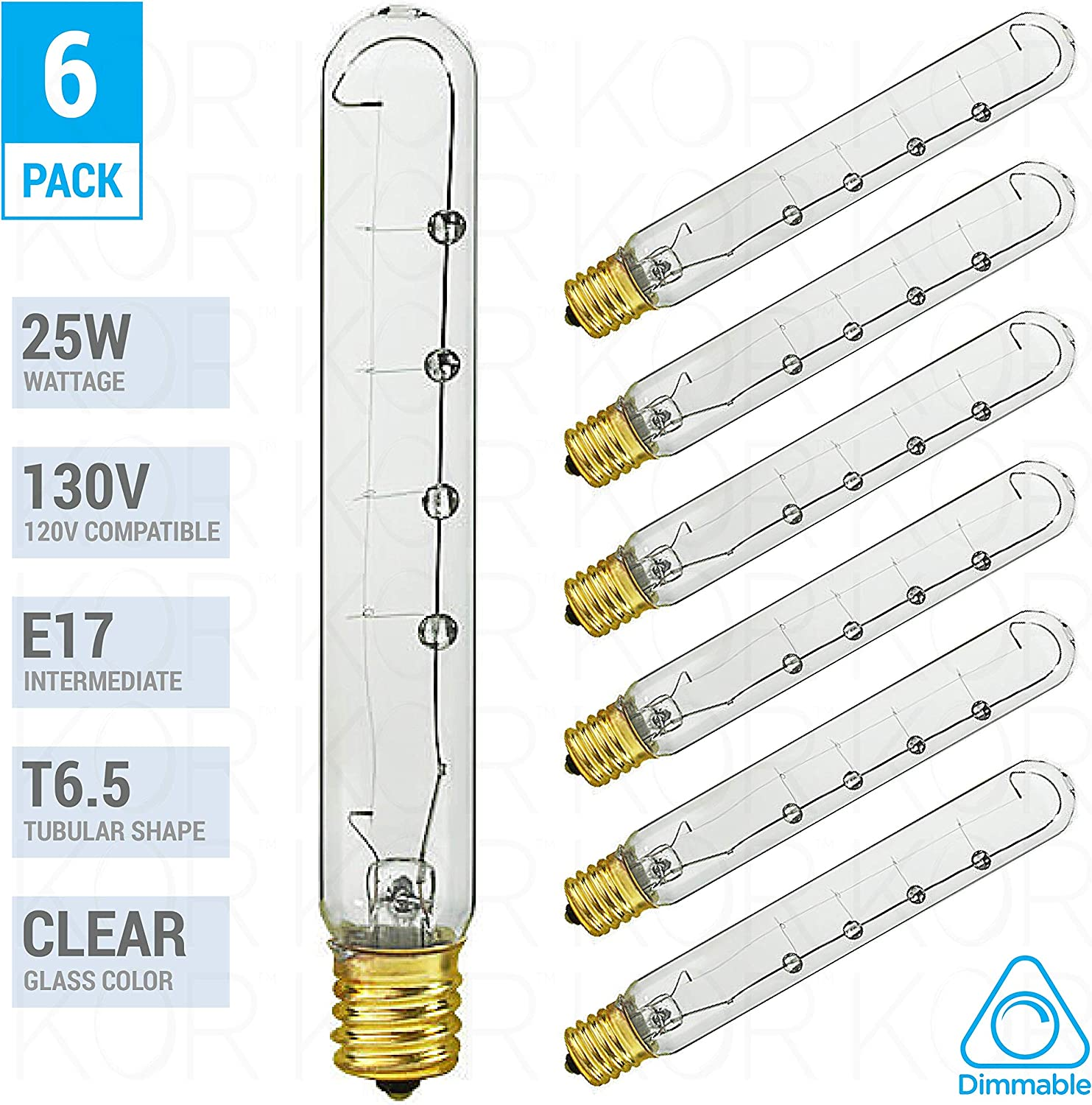 (6 Pack) T6.5/CL/N Clear Tubular Intermediate (E17) Brass-Base Incandescent T6.5 1/2N Appliance (Refrigerator Freeze Microwave Exit Light Etc.) Bulb 130 Volt (25-Watt 6-Pack)