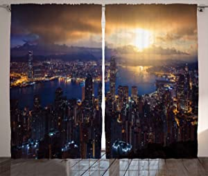 "Ambesonne Urban Curtains, Aerial Skyline of Night Victoria Peak Hong Kong City Skyscrapers Metropolis Image, Living Room Bedroom Window Drapes 2 Panel Set, 108"" X 84"", Yellow Blue"