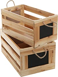 Natural Wood Finish Nesting Boxes / Multipurpose Storage Crates W/ Erasable  Chalkboard Signs, Set
