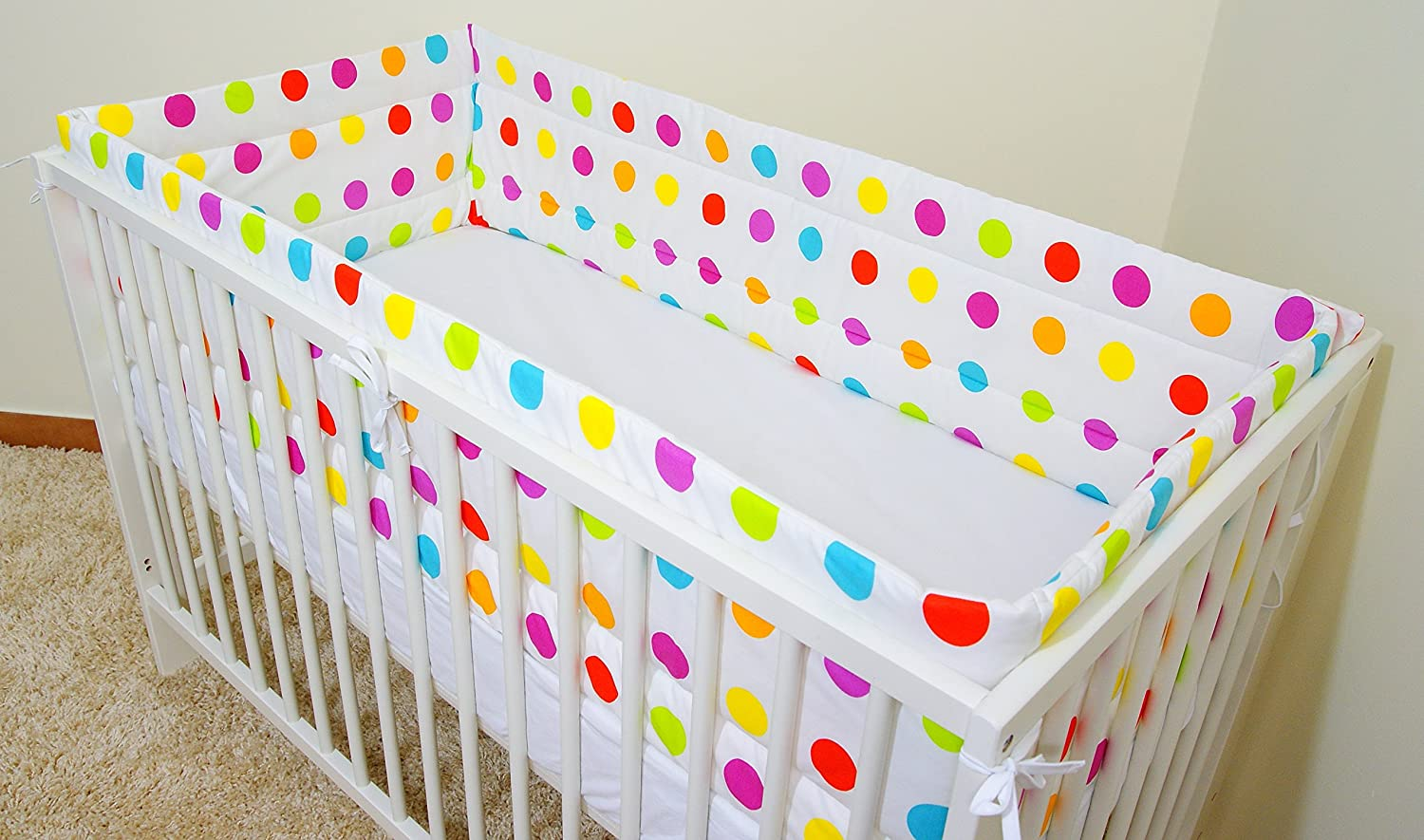 Blue Dino , Nursery Bumper 360cm Long All Round Bumper to fit Cot 120//60cm