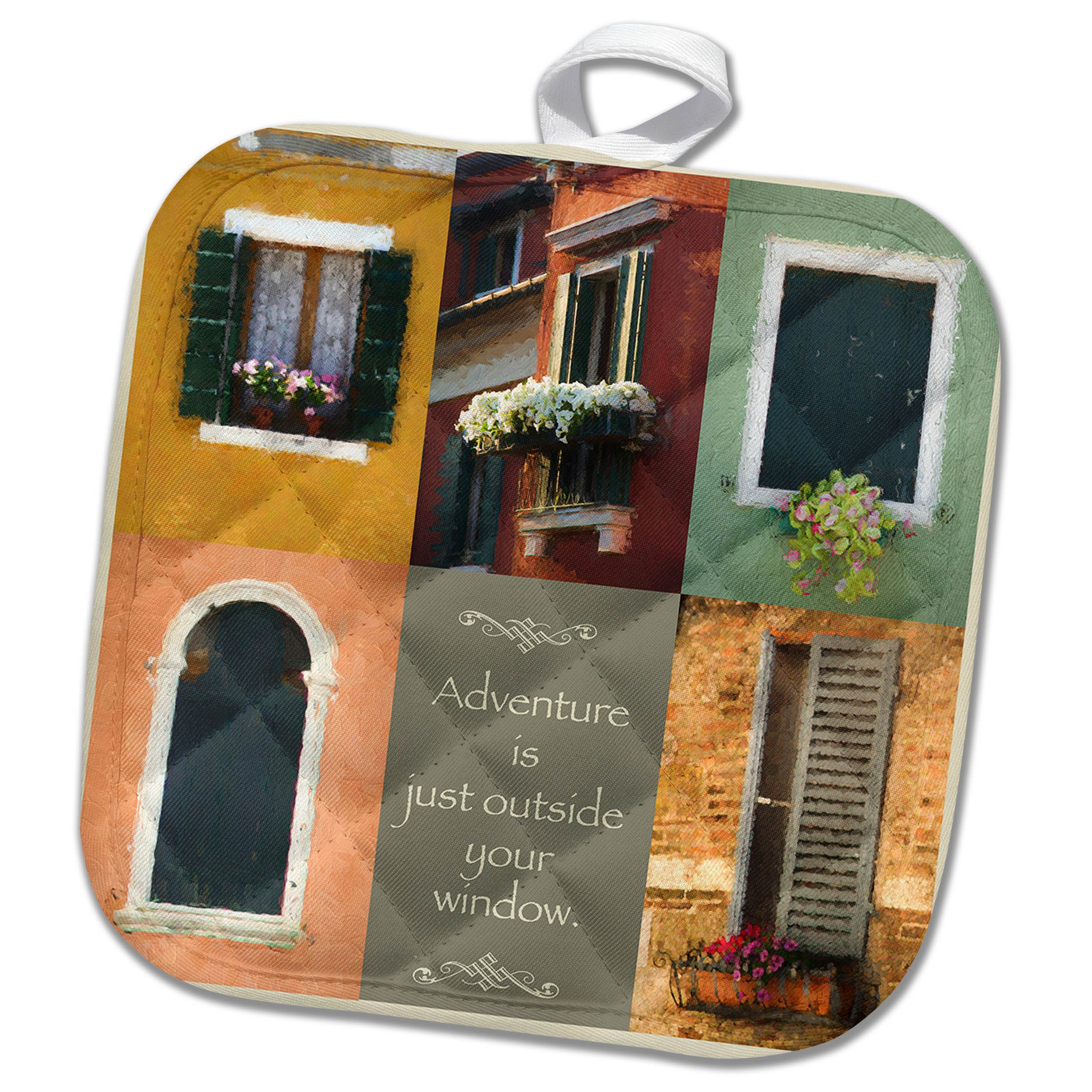 3dRose Susan Kjellsen Photography - Windows - Antique windows - 8x8 Potholder (phl_280229_1)