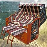 Strandkorb XXL rot grün karo # Strandkorb XXXL 3-SITZER 160cm breit # inkl. Strandkorb Schutzhülle # inkl 4 Kissen - Ostsee Strandkorb Volllieger
