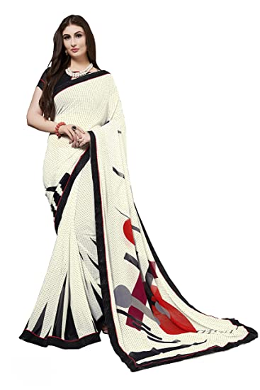 b9f44df4e Gaurangi Creation Women s Printed Weightless Georgette Casual Wear Saree  (SPRM1005 White)  Amazon.in  Clothing   Accessories