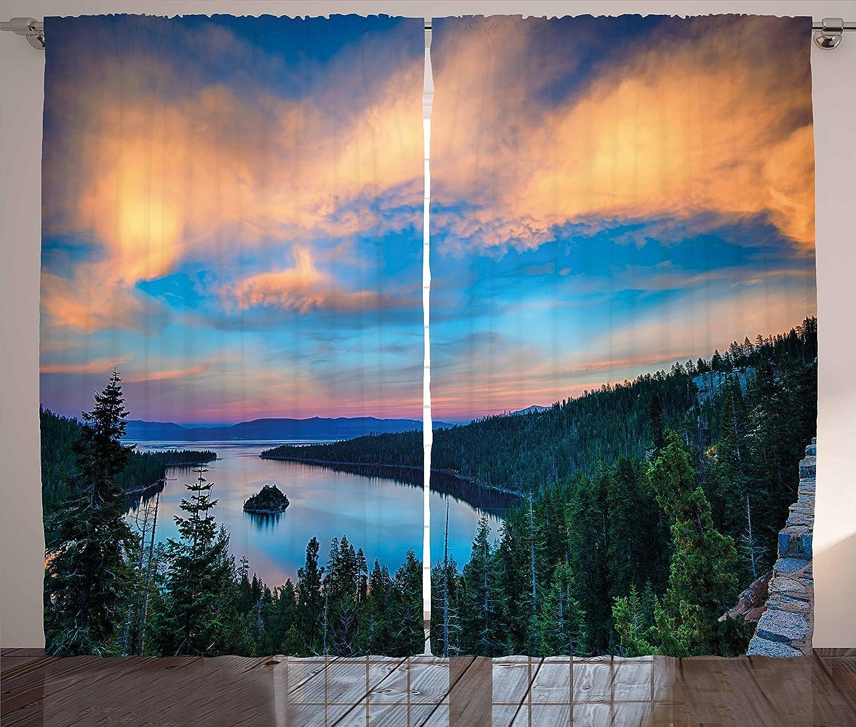 Ambesonne Lake Tahoe Curtains, High Angle View Californian Freshwater Lake Tranquil Scene Sundown, Living Room Bedroom Window Drapes 2 Panel Set, 108