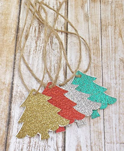 glitter christmas tree name tags with twine set of 20