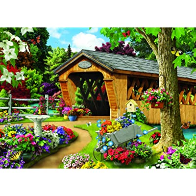 MasterPieces Memory Lane Jigsaw Puzzle, Garden Bridge, Featuring Art by Alan Giana, 1000 Pieces: Toys & Games