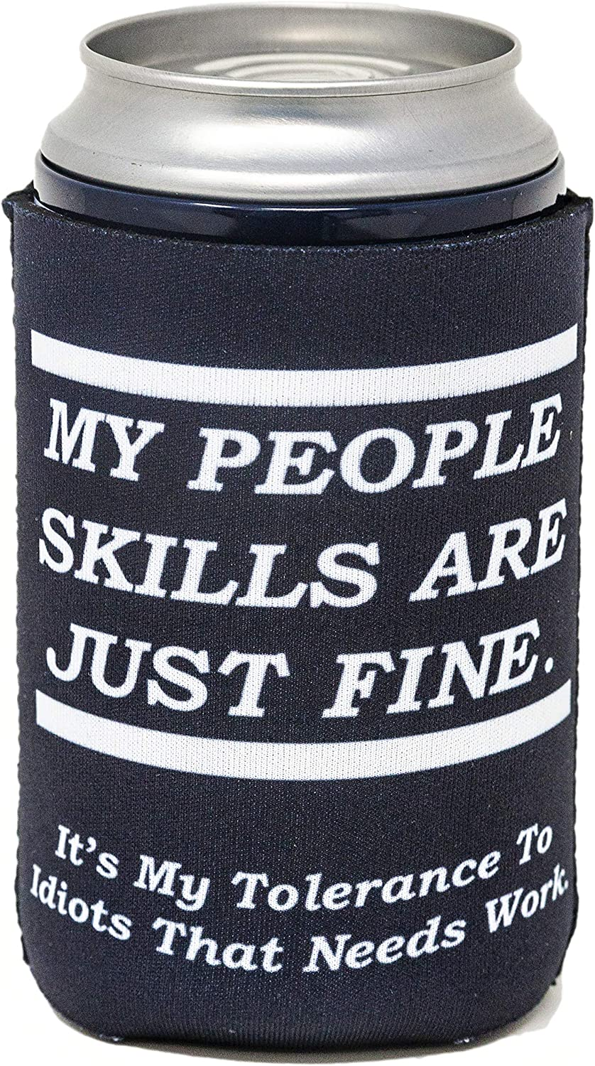 Funny Guy Mugs My People Skills Are Just Fine Collapsible Neoprene Can Coolie - Drink Cooler