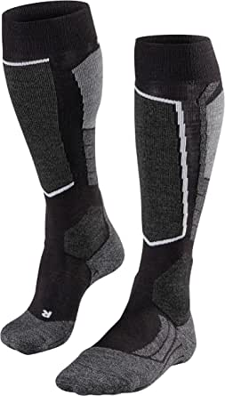 FALKE Mens SK2 Skiing Socks Merino Wool Black Grey 1 Pair