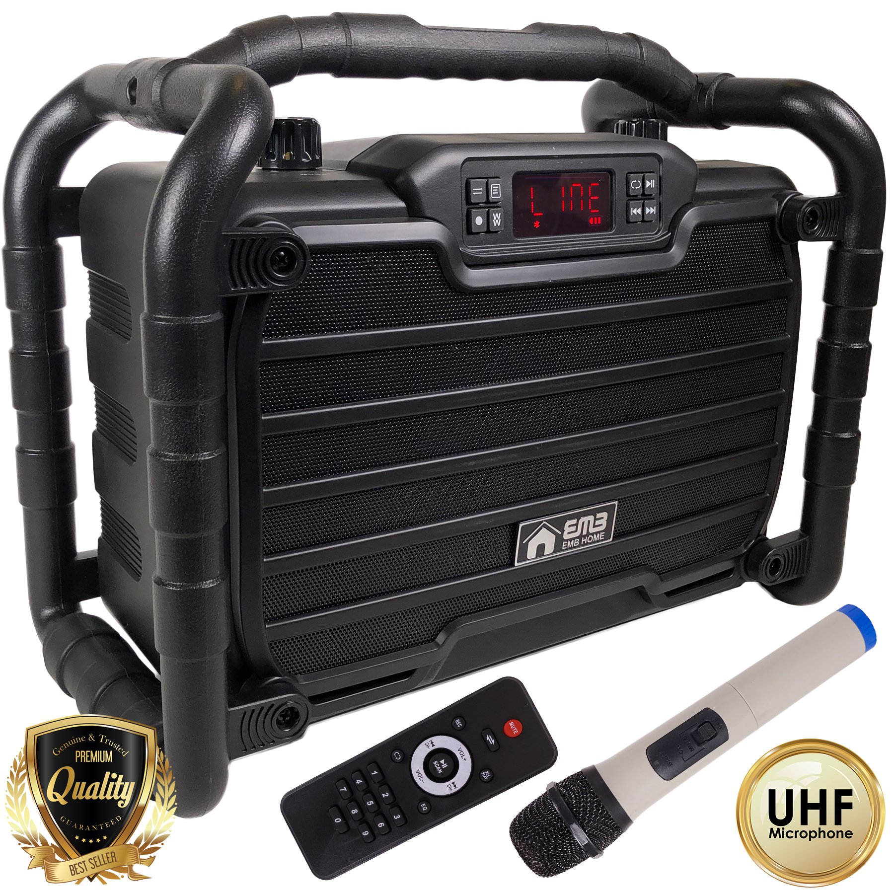 EMB Home PKL490BK PK1 300W Power Box Jobsite Bluetooth Stereo Rechargeable Speaker - Water Splash Proof / Shockproof / Dustproof - Perfect for Construction Site/ Beach / DJ Party / Shop / Home / Camp