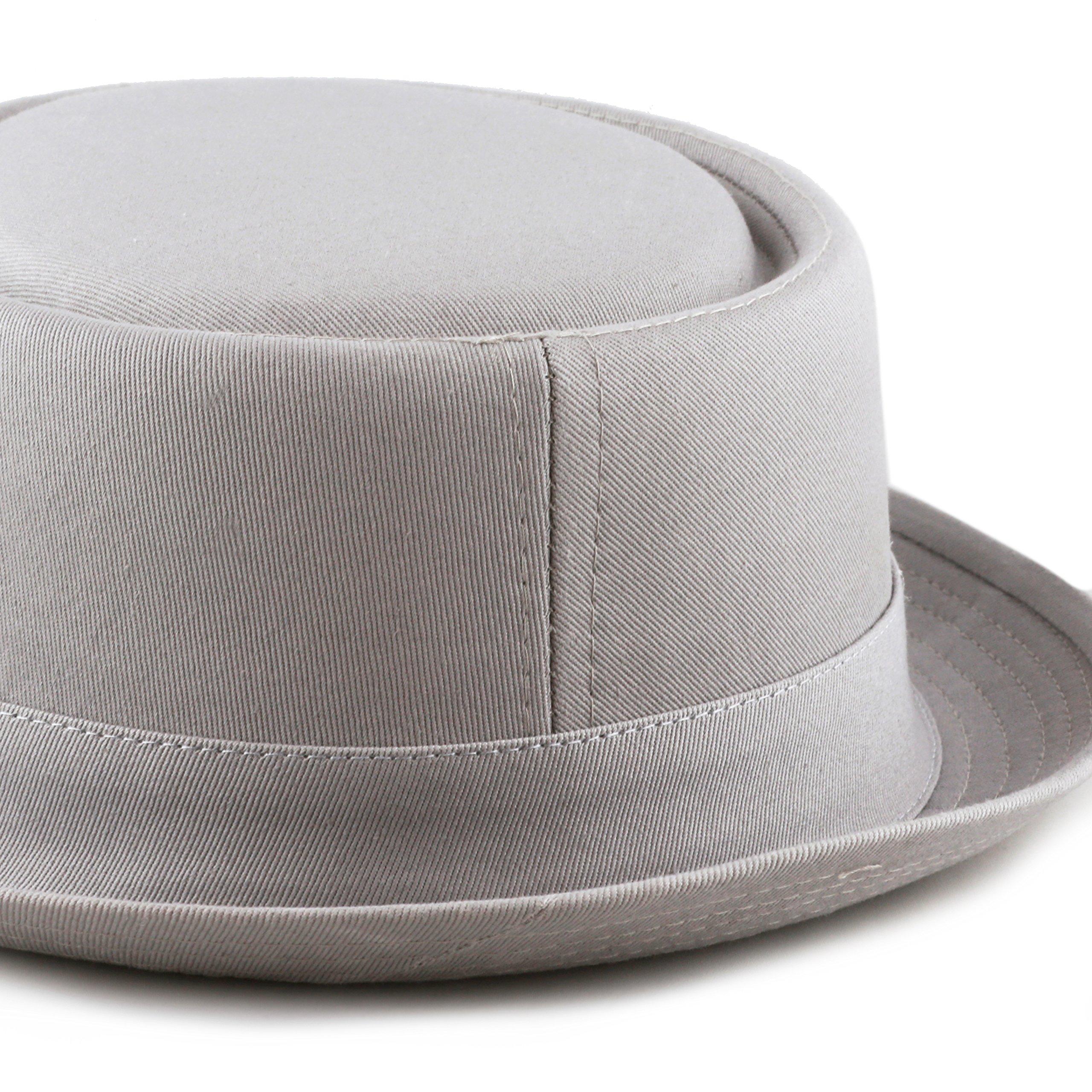 THE HAT DEPOT Black Horn Cotton Plain Pork Pie Hat (Large, Grey) by THE HAT DEPOT (Image #7)