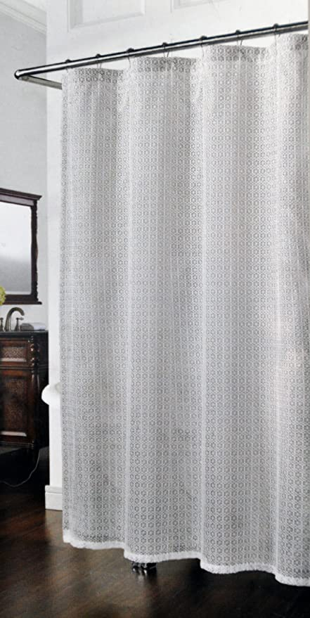 Richloom Cane Fabric Mesh Shower Curtain White Embroidery on Gray ...