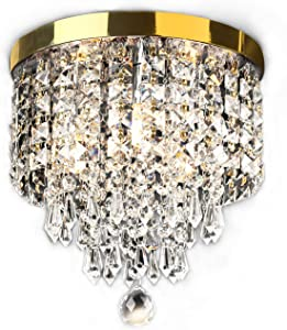 "SUNLIHOUSE Modern Crystal Chandelier Ball Fixture Pendant Ceiling Lamp H11.7"" X W9.8"", 3 Light,Mini Modern Chandelier Lighting Fixture for Bedroom, Hallway, Bathroom, Kitchen-Gold"