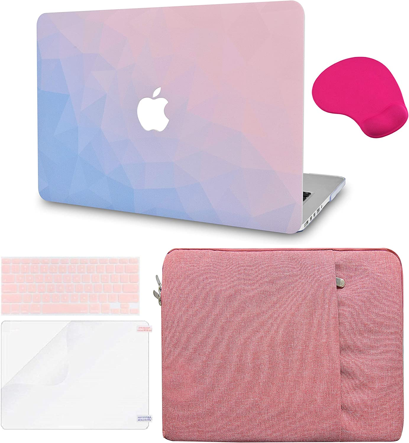 """LuvCase 5in1 LaptopCase for MacBook Pro 13""""(2020) with Touch Bar A2251/A2289HardShellCover, Sleeve, Mouse Pad, Keyboard Cover and Screen Protector(Ombre Pink Blue)"""