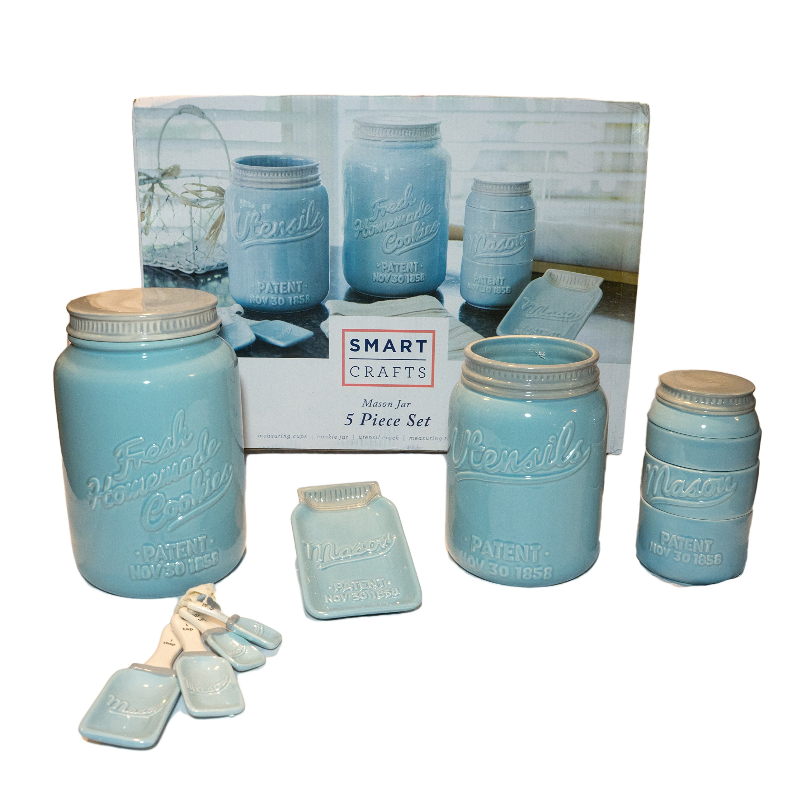 NEW! Blue Mason Jar Ceramic Kitchenware 5 Piece Set! This Set Includes Stackable Measuring Cups, Measuring Spoons, Spoon Rest, Utensil Crock and Cookie Jar!