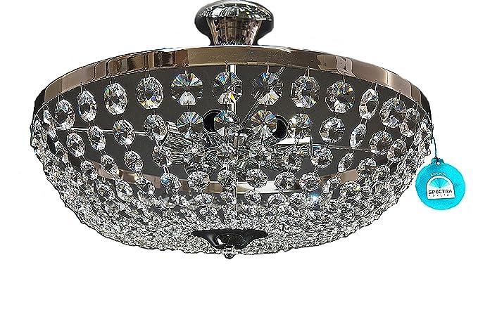 Plafoniere In Cristallo Miglior Prezzo : Lampadario plafoniera o cm luci color argento cristallo di