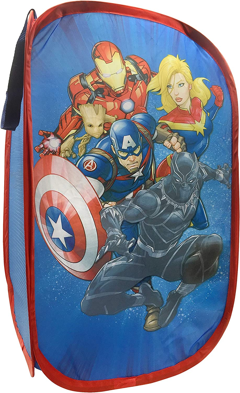 "Marvel Avengers Blast Off Pop Up Hamper - Features Captain Marvel, Iron Man, Black Panther, and Captain America - Mesh Laundry Basket/Bag with Durable Handles, 22"" x 14"" (Official Marvel Product)"