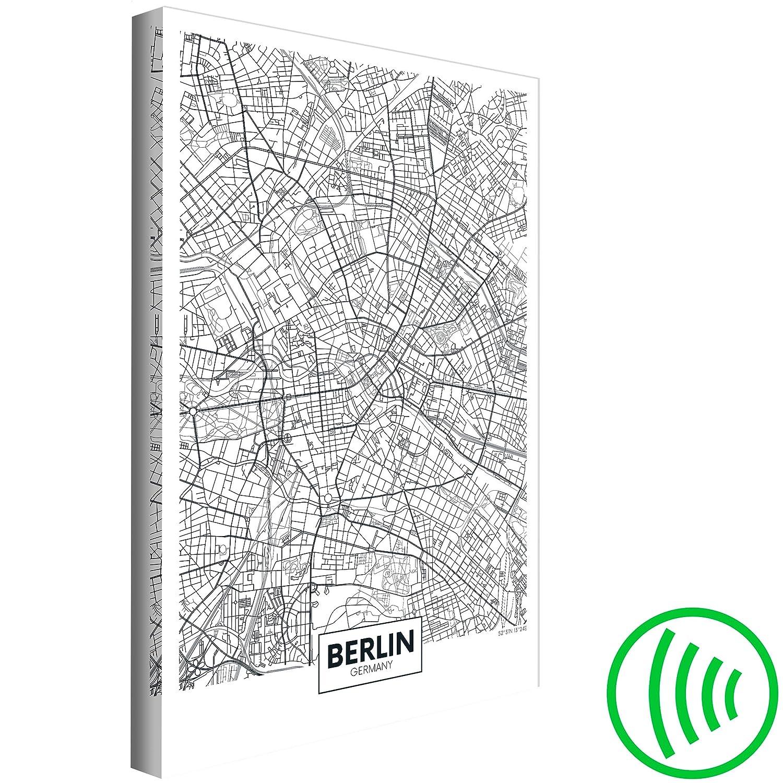 decomonkey Akustikbild Weltkarte 60x90 cm 1 Teilig Leinwand Wandbilder XXL Schallschlucker Schallschutz Akustikdämmung Wand Bild leise Berlin schwarz weiß