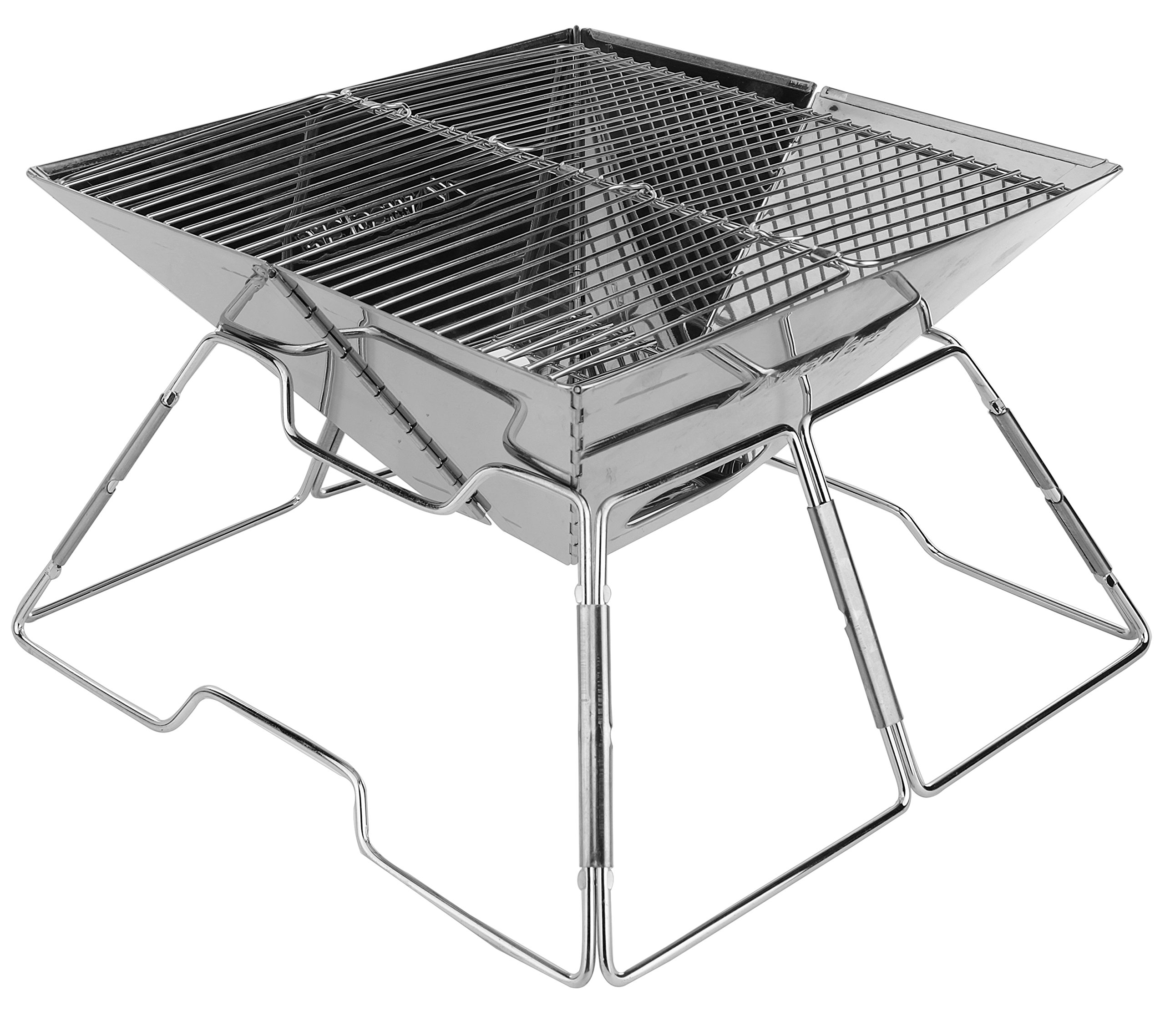 Wealers Compact Folding 12 Inch Charcoal BBQ Grill Made From Stainless Steel. Portable and Great for Camping, Picnics, Backpacking, Backyards, Survival, Emergency Preparation.