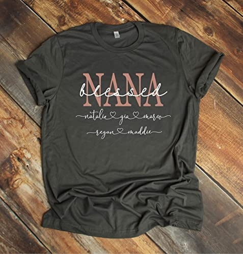 5e86807b Amazon.com: Nana T Shirt, Personalized Mother's Day Gift For Grandma ...
