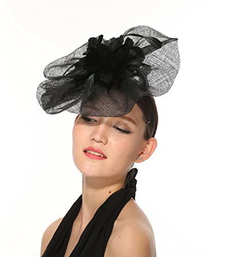 2ff3c2ea4c4 ray daniel Newest Women s Large Sinamay Fascinator Headband Cocktail Hat 7  Colors Available (Black) at Amazon Women s Clothing store