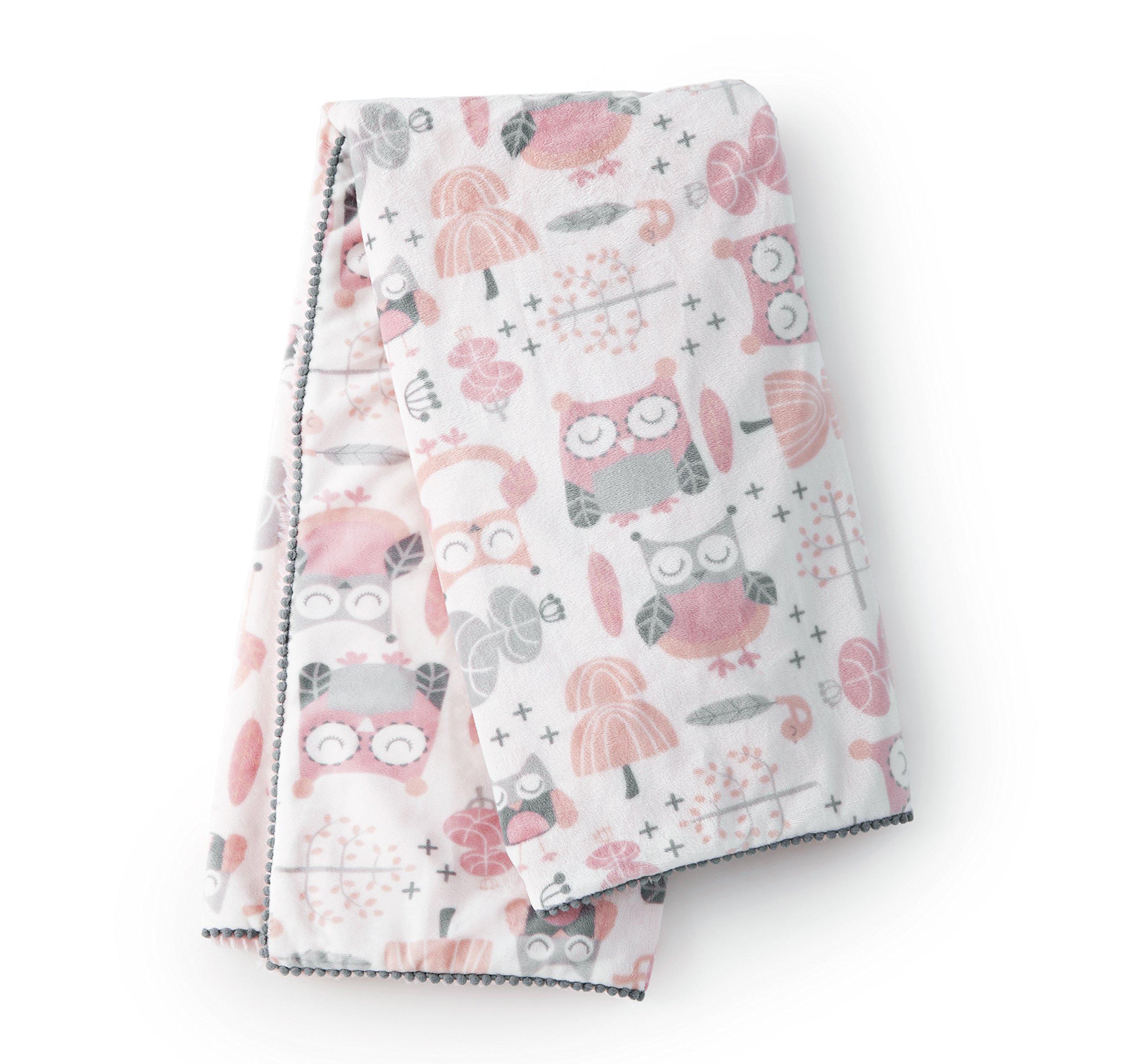 Levtex Home Baby Night Owl Plush Blanket, Pink