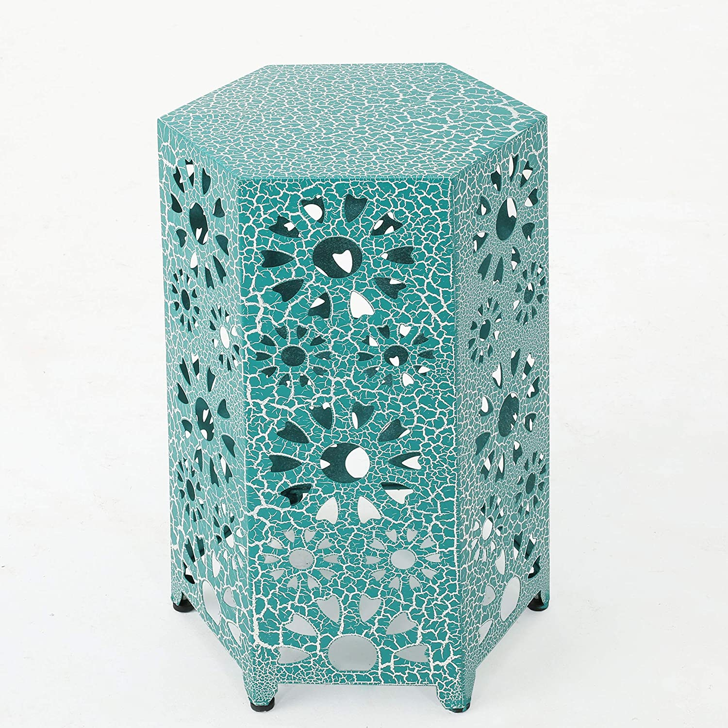 """Christopher Knight Home Eliana Outdoor 14"""" Sunburst Iron Side Table, Crackle Teal"""
