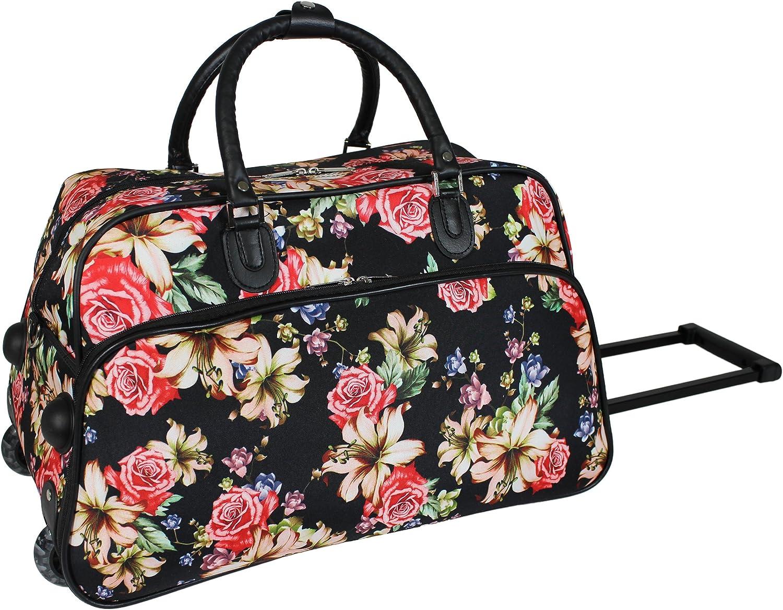 World Traveler 21-Inch Carry-On Rolling Duffel Bag, Flower Bloom