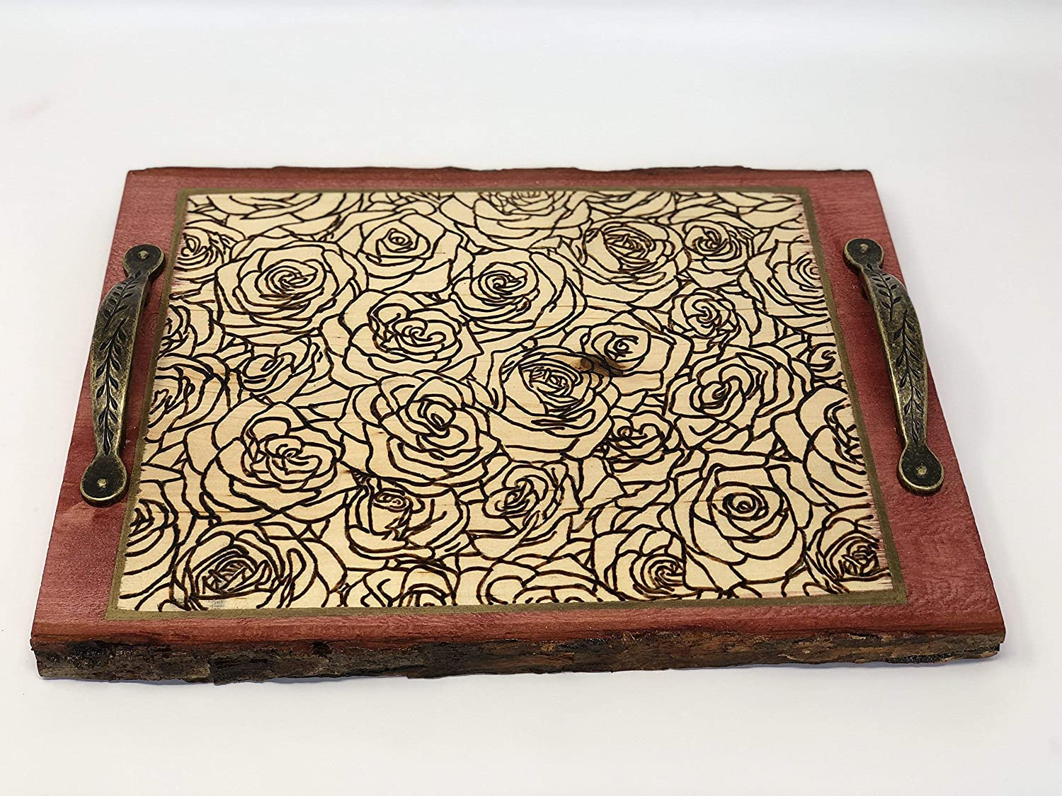 The Arabesque - Exquisite Handmade and Handcrafted Woodburned Rustic Rose Patterned Tray For Coffee Table Or Ottoman - Perfect Home, Office, Or Wedding Decor